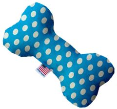 PET TOYS: Soft Durable Fabric or Canvas Bone Shape Toy SWISS DOTS in 3 Sizes/9 Colors Made in USA MiragePetProducts