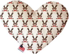 PET TOYS: Soft Velvety Fabric Heart Shape Pet Toy DAPPER RABBITS in Two Sizes Made in USA by MiragePetProducts