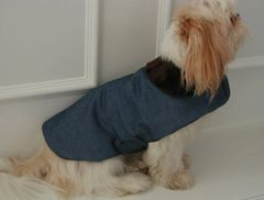 Dog Coats: Alexis Blue Denim Winter Dog Coat Fleece Lining Faux Fur Collar