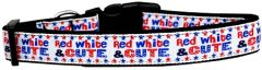 Dog Collars: Nylon Ribbon Collar by Mirage Pet Products USA - RED, WHITE & CUTE