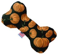 PET TOYS: Durable Fabric/Canvas Bone Shape Pet Toy PUMPKIN PATCH in 3 Sizes Made in USA by MiragePetProducts