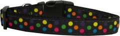 Dog Collars: Nylon Ribbon Collar by Mirage Pet Products USA - BLACK MULTI-DOT
