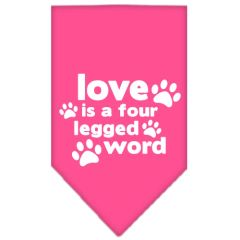 Dog Bandanas: Screen Print Cotton Dog Bandana 'LOVE IS A FOUR LEGGED WORD' Different Colors in Small or Large by Mirage USA