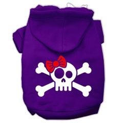 Dog Hoodies: SKULL CROSSBONE BOW Screened Print Dog Hoodie Various Sizes & Colors by Mirage