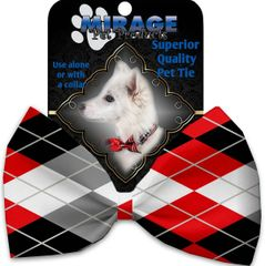 DOG BOW TIE: Decorative & Classy Silky Polyester Bow Tie for Dogs - RED & GRAY ARGYLE