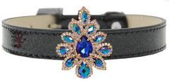 BLING DOG COLLARS: Golden Collection Sapphire Sofia on Black Ice Cream Dog Collar in 5 Sizes by MiragePetProducts