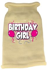 Dog Sweaters: Screen Print BIRTHDAY GIRL Knit Dog Sweater in Different Colors & Sizes - Mirage