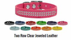Leather Dog Collars: Genuine Leather Bling Dog Collar by Mirage - TWO ROWS CLEAR JEWELED LEATHER Collar