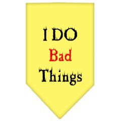 Dog Bandanas: Screen Print Cotton Dog Bandana 'I DO BAD THINGS' Different Colors in Small or Large by Mirage USA
