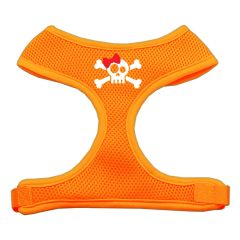 Dog Harnesses: Screen Print - SKULL BOW Soft Mesh Dog Harness in Several Sizes & Colors USA