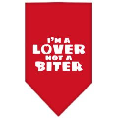 Dog Bandanas: Screen Print Cotton Dog Bandana 'I'M A LOVER NOT A BITER' Different Colors in Small or Large by Mirage USA