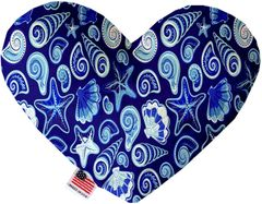 PET TOYS: Soft Velvety Fabric Heart Shape Pet Toy BLUE SEASHELLS in Two Sizes Made in USA by MiragePetProducts