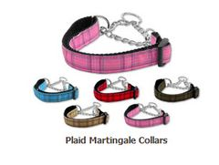 Martingale Dog Collars: PLAID Nylon Ribbon Dog Collar Mirage Pet Products USA