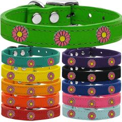 Dog Collars: Cool Dog Collars with Cute PINK DAISY Widgets Genuine Leather Dog Collar in Different Colors and Sizes by Mirage USA