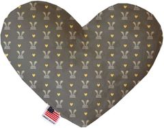 PET TOYS: Soft Velvety Fabric Heart Shape Pet Toy GRAY BUNNIES in Two Sizes Made in USA by MiragePetProducts