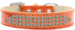 BLING DOG COLLARS: Three Rows AB CRYSTALS/ICE CREAM DOG COLLAR Various Sizes & Colors USA by Mirage