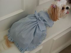 Dog Dresses: Handmade RHAPSODY IN BLUE Gingham Cotton Dog Dress by Alexis