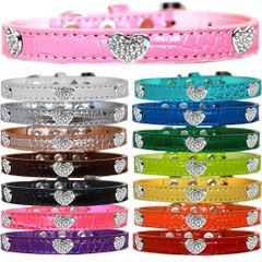Dog Collars: Faux Croc Dog Collar with CRYSTAL HEARTS Widgets in Different Colors & Sizes Made in USA by MiragePetProducts