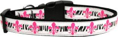 Dog Collars: Nylon Ribbon Dog Collar USA - PINK FLEUR DE LIS