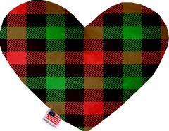PET TOYS: Soft Velvety Fabric Heart Shape Pet Toy - PLAIDS in 2 Patterns/2 Sizes Made in USA by MiragePetProducts