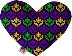PET TOYS: Soft Velvety Fabric Heart Shape Pet Toy CLASSIC FLEUR de LIS in Two Sizes Made in USA by MiragePetProducts
