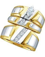0.50 ctw Diamond Marquise Trio set. 10kt white & yellow gold