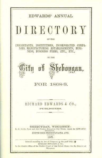Edwards Sheboygan City Directory 1868
