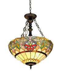 HESTER 18 Inch 2-Light Tiffany Style Inverted Victorian Ceiling Pendant, CH33360VR18-UH2