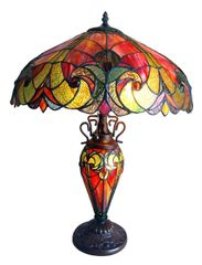 LIAISON 18 Inch 3-Light Tiffany Style Victorian Table Lamp, CH18780VR18-DT3