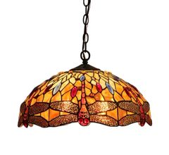 EMPRESS 18 Inch 2-Light Tiffany Style Dragonfly Hanging Pendant, CH33471AD18-DH2