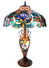 LYDIA 17 Inch 3-Light Tiffany Style Victorian Table Lamp, CH1B715BD17-DT3