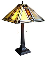 MISSION 15 Inch 2-Light Tiffany Style Mission Table Lamp, CH1B902AM15-TL2