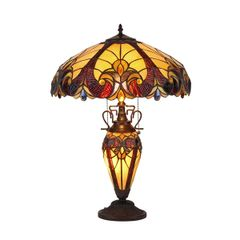 VICTORIAN AMBER 18 Inch 3-Light Double Lit Tiffany Style Table Lamp, CH38632AV18-DT3
