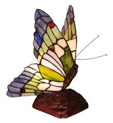 BLUE-TIP BUTTERFLY 10 Inch 1-Light Tiffany Style Accent Lamp, CH10221GA05-NL1