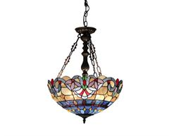 GRENVILLE 18 Inch 2-Light Tiffany Style Inverted Victorian Ceiling Pendant, CH33381VB18-UH2
