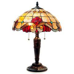 SHELLY 15 Inch 2-Light Amber Victorian Tiffany Style Table Lamp, CH15063AV15-TL2