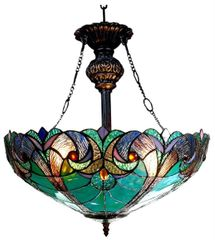 LIAISON 18 Inch 2-Light Tiffany Style Inverted Victorian Ceiling Pendant, CH18780VG18-UH2