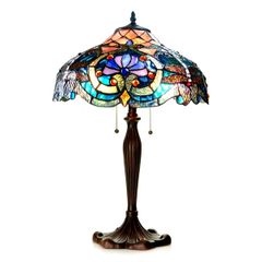 LYDIA 17 Inch 2-Light Tiffany Style Victorian Table Lamp, CH1B715BD17-TL2