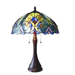 AMOR 16 Inch 2-Light Tiffany Style Victorian Table Lamp, CH16780VT16-TL2