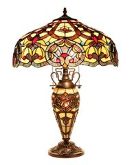 SADIE 18 Inch 3-Light Tiffany Style Victorian Double Lit Table Lamp, CH33473IV18-DT3