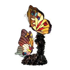 EDITH 1 10 Inch 2-Light Tiffany Style Butterfly Table Lamp, CH15107AA17-TL2
