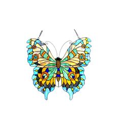 MARIPOSA Tiffany Glass Butterfly Window Panel