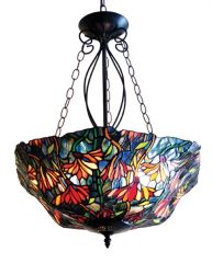 MARIGOLD 21 Inch 3-Light Tiffany Style Inverted Floral Ceiling Pendant, CH16403RF21-UH3
