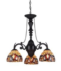 SERENITY 21 Inch 3-Light Tiffany Style Victorian Mini Chandelier, CH33353VR21-DC3