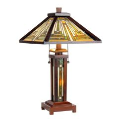 INNES 15 Inch 3-Light Double Lit Tiffany Style Table Lamp, CH33359WM15-DT3