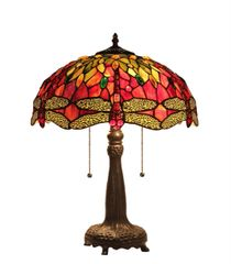 EMPRESS 16 Inch 2-Light Tiffany Style Dragonfly Table Lamp, CH33471RD16-TL2