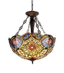 REBECCA 21 Inch 3-Light Tiffany Style Inverted Victorian Ceiling Pendant, CH33270VB21-UH3