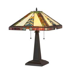 JAGGER 16 Inch 2-Light Tiffany Style Mission Table Lamp, CH35522BM16-TL2