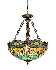 EMPRESS 18 Inch 2-Light Tiffany Style Inverted Dragonfly Ceiling Pendant, CH33471BD18-UH2