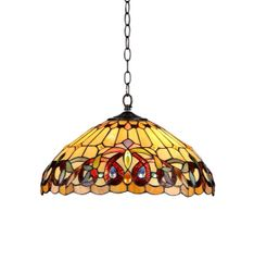 SERENITY 18 Inch 2-Light Tiffany Style Victorian Hanging Pendant, CH33353VR18-DH2